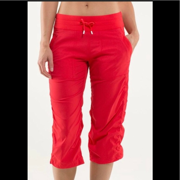 "Lululemon Studio Crops in ""Love Red"""